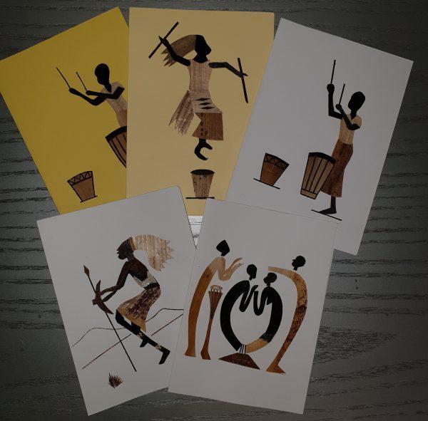 Kunstpostkarten mit Musik- , Tanz- und Trommelmotiven